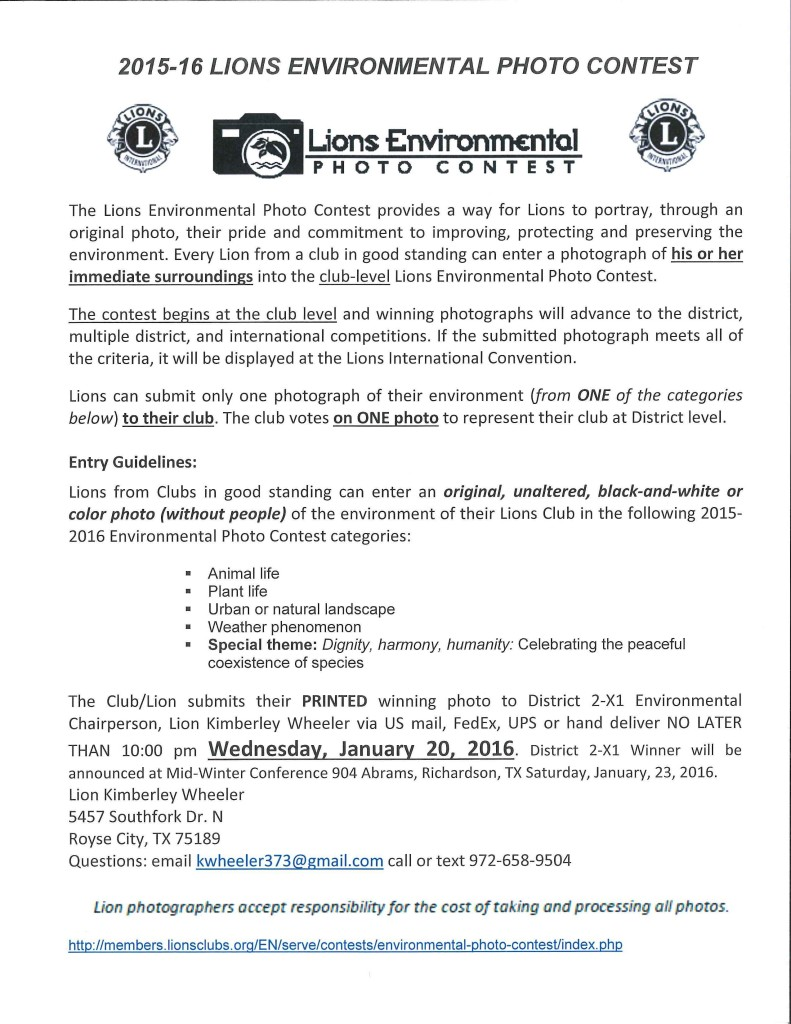 2015-2016 Environmental Photo Contest Rules