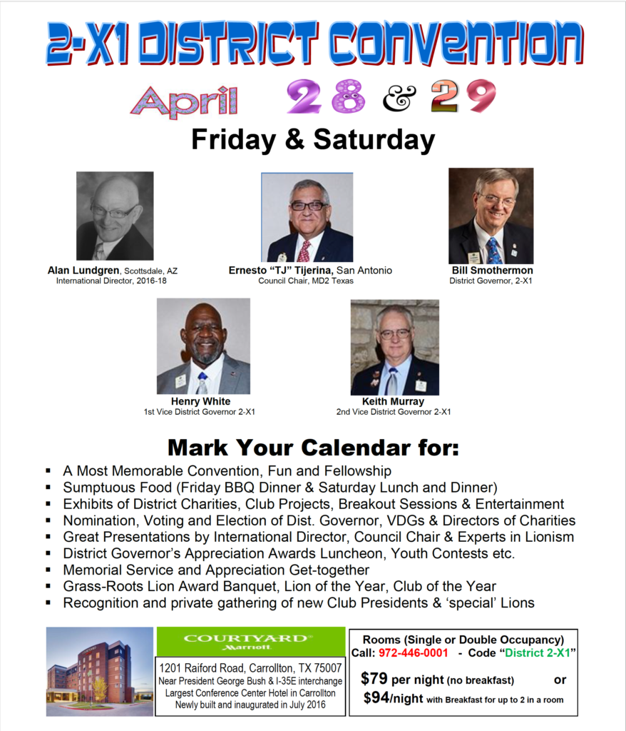 2017 2-X1 District Convention Flyer